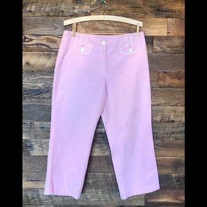 New York & Company Pink Pinstripe Cropped Pants M